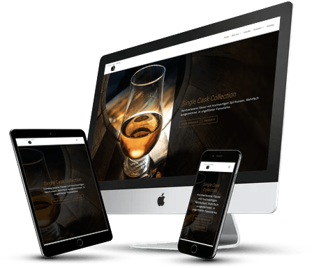 Bild zeigt einen Screenshot im responsive Webdesign der Website von www.singlecaskcollection.at